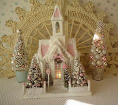 Putz Cathedral  Shabby PINK Roses  LIGHTED by IllusiveSwan on Etsy