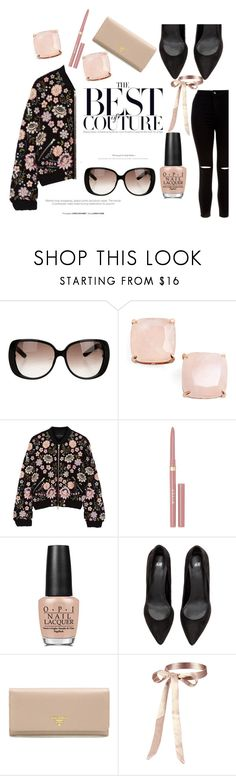 """""""bomber"""" by style-by-amor ❤ liked on Polyvore featuring Gucci, Kate Spade, Needle & Thread, Stila, OPI, Prada and New Look"""