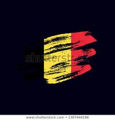 Vector brush painted flag of Kingdom of Belgium isolated on dark blue background. Frayed and scratched the national symbol of the European country Vector Brush, National Symbols, Dark Blue Background, Flag Vector, Morale Patch, Blue Backgrounds, New Pictures, Royalty Free Photos, Belgium