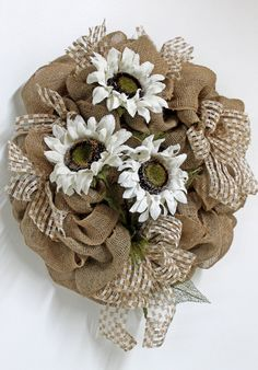 Burlap Sunflowers, Primitive Country Wreath- hmmm with red flowers and turq. ribbon stuck in there. Burlap Crafts, Burlap Bows, Wreaths For Front Door, Door Wreaths, Mobiles, Fall Crafts, Arts And Crafts, Diy Wreath, Burlap Wreaths