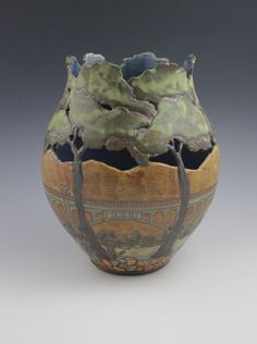 Approximately H this is a vase created in the Art and Crafts tradition and is decorated with the Colorado Street Bridge in Pasadena. Pottery Vase, Ceramic Pottery, Thrown Pottery, Slab Pottery, Expensive Art, Pottery Houses, Tree Artwork, Art And Craft Design, Pottery Classes