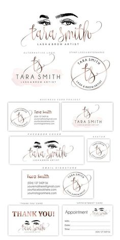 Lash logo design Eyelash branding kit Lash extensions logo #businesscards