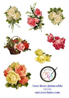 Free Victorian roses printable I designed for scrapbooking and paper crafting