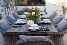 beautiful wicker wood for outdoor dining – Patio Table – Ideas of Patio Table… - Modern Outdoor Garden Furniture, Outdoor Rooms, Outdoor Gardens, Farmhouse Outdoor Furniture, Outdoor Patios, Deck Furniture, Furniture Logo, Outdoor Kitchens, Farmhouse Table