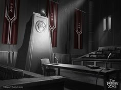 """Courtroom from """"The Obsolete Man."""""""