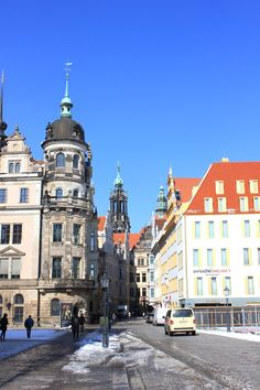 March 14, 2013. The Altstadt district of Dresden is full of spires and palatial structures.