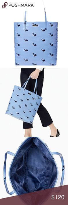 """Price Drop!❤️NWT Kate Spade Whale Tote Bag Large adorable tote bag!  New with tags. Blue printed coated poplin with signature jacquard logo interior. Soooo cute!!  Measures: 13.5 x 12.3"""". Handle Drop of 9"""". Matching wallet also available for sale - see last pic.  No trades. kate spade Bags Totes"""