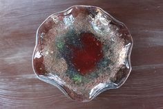 Fused glass irregular plate with copper by kkarpinska on Etsy