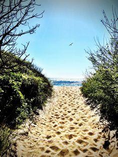 Walking towards the ocean at Stinson Beach