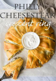 Philly Cheesesteak Crescent Ring-the best, ultimate game/lazy/comfort food sandwich creation! Crescent Roll Recipes, Crescent Rolls, Crescent Ring, Cresent Ring Recipes, Crescent Dough, Beef Recipes, Cooking Recipes, Kraft Recipes, Burger Recipes