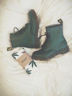 Green Doc Martens boots + HUF socks