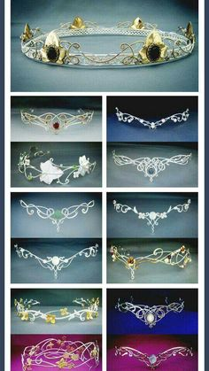Elven circlets from Medieval times. Flip upside down and look like great tiaras Fantasy Dress, Fantasy Hair, Fantasy Makeup, Fantasy Jewelry, Circlet, Tiaras And Crowns, Wire Jewelry, Jewellery, Bridal Jewelry
