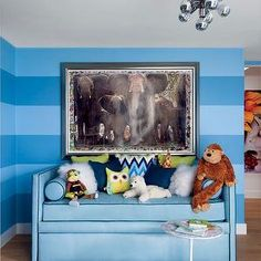 In Sir Elton John and David Furnish's Beverly Hills residence, interior designer Martyn Lawrence Bullard used a marble-top Saarinen table in their son Zachary's blue-striped room. Benjamin Moore, Nursery Inspiration, Design Inspiration, Nursery Ideas, Kids Bedroom Sets, Kids Rooms, Bedroom Ideas, Childrens Bedroom, Guest Bedrooms