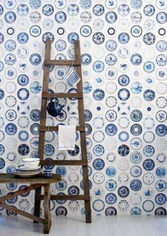 Blue Porcelain Wallpaper by Studio Ditte - Lime Lace Vintage Dutch white and blue plates