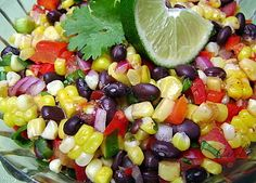 Corn and Black Bean Salad with Cilantro.I love this recipe make it all the time! Perfect side dish or even topping for fish tacos :) Mexican Corn Side Dish, Side Dishes For Fish, Taco Side Dishes, Side Dish Recipes, Fish Recipes, Mexican Food Recipes, Food Dishes, Recipies, Sides For Fish Tacos