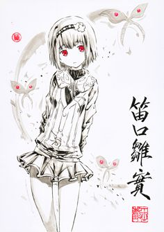 Tokyo Ghoul   Hinami Fueguchi   Black and White (and Red) Anime Girl
