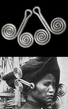 Indonesia ~ North Sumatra | Solid cast ear ornaments ~ Padung-Padung ~ from the Karo Batak people | 19th century | High grade silver, completely solid and together weigh more than 1.5 kgs | POR ||| Insert shows a Karo Batak woman, ca 1900, wearing prominent padung-padung