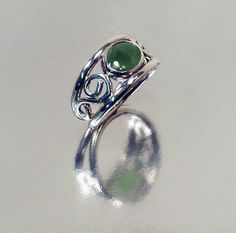Women's Jade Ring Sterling Silver. $49.95, via Etsy.