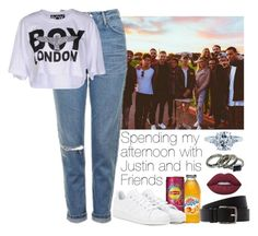 """""""Day with Justin and his Friends #G"""" by ghizlanewilde ❤ liked on Polyvore featuring Topshop, BOY London, adidas, Lime Crime, Hermès and Tiffany & Co."""