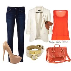 Love the white blazer with orange shirt