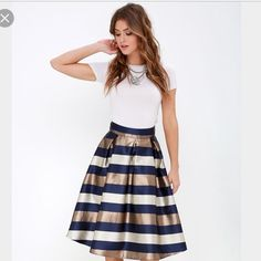 LULU'S Dock of the Bay bronze navy midi-skirt Worn for a couple hours! Still in perfectly new condition!! Size small (size tag ripped while putting on). Gorgeous skirt, sold out online!! Retails for $42 plus shipping and tax. Lulu's Skirts Midi