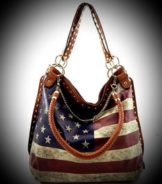 Beautiful Flag Print Chain Decorated Hobo Bag