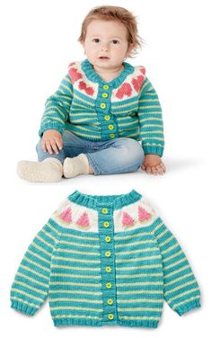 Free Knitting Pattern for Baby Cardigans ⋆ Knitting Bee Baby Cardigan Knitting Pattern Free, Beginner Knitting Patterns, Knitting Stiches, Free Knitting, Free Baby Patterns, Free Pattern, Knit Baby Sweaters, Cardigans, Toddlers