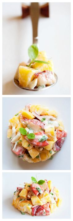 Lobster and mango salad, a refreshing and delicious lobster salad recipe with mango. Lobster and mango salad is a great salad to start a multi-course meal. rasamalaysia.com