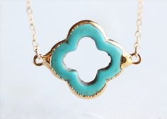 Turquoise Gold Four Leaf Clover Necklace  teal by petitor on Etsy, $33.00