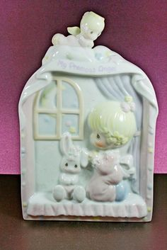 Precious Moments Baby Girl Angel Porcelain Plaque Enesco 1996 MIB 166030