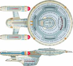 Dorsal and Starboard Schematic of U.S.S. Enterprise NCC-1701 C
