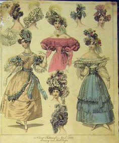 [1890 Womens Fashion Evening Ball Dresses Hats Colour]