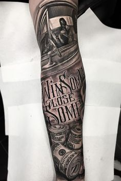 Black and Gray Sleeve Tattoo