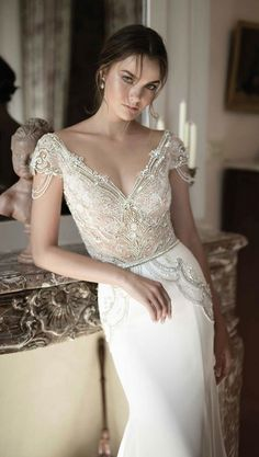 embellished v neckline bodice wedding dress with sleek white skirt via alon livne / http://www.himisspuff.com/top-100-wedding-dresses-2017-from-top-designers/3/