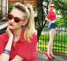 Retro look! Dots, vintage glasses, shorts and heels - wow! Flexy Fashion outfit! Click here for more: http://i-wear.pl/  Świetna stylizacja w stylu retro u Flexy Fashion! Koszula w kropki, okulary vintage, szorty i szpilki - wow! Więcej stylizacji na : http://i-wear.pl/