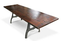 Urban farm table with industrial machine legs and extensions - they have a bunch of versions (Olde Good Things); have a store in philly Industrial Table Legs, Industrial Style Lamps, Industrial Furniture, Urban Industrial, Industrial Farmhouse, Antique Furniture, Modern Farmhouse, Farmhouse Dining Room Table, Dinning Table