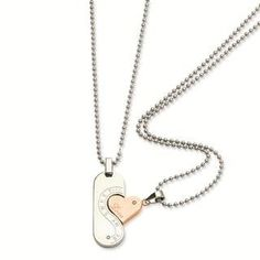 """His and Her Necklace Set - Stainless Steel and Rose Gold Abernook. $40.00. Give a special gift from the heart that two can enjoy.. His and Her necklace set great for anniversary gifts, boyfriend girlfriend gift ideas as well as special occasions.. 22"""" ball chain. Stainless Steel Polished and Rose Gold Plated"""