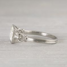 1.57 Carat Vintage Art Deco Engagement Ring   Erstwhile Jewelry Co. side view