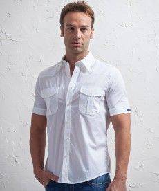 #45parallelo: short sleeve #shirt, white #color, 2 pockets