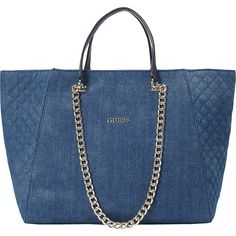 4a2167e83580 GUESS Nikki Chain Tote-Denim ( 88) ❤ liked on Polyvore featuring bags