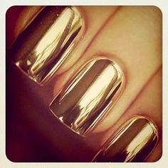 #uñas #nails #doradas #metalicas