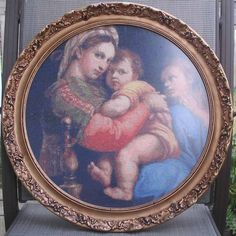 You may have to do some searching to find a round frame, but for a circular design it's very nice.  Here's Madonna of the Chair - Raphael, by Scarlet Quince.