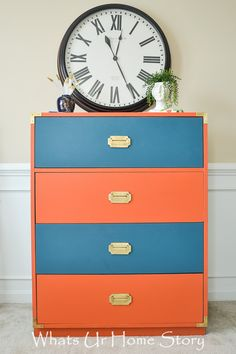 Campaign dresser makeover in coral and navy; General Finishes Persimmon and Annie Sloan Aubusson Blue