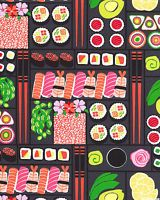 Bento Box Sushi Gray Michael Miller Fabric FQ or More 100%Cotton