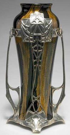 Loetz Art Glass Vase in an Art Nouveau metal frame, Ophir pattern, 1904, 31 cm high