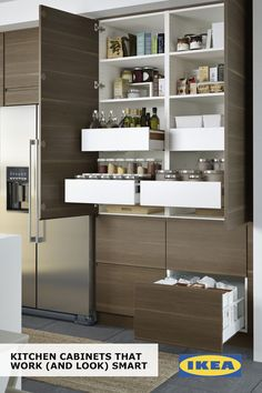 IKEA SEKTION cabinets help you find a space for everything in your kitchen! Drawers within drawers create ample storage without adding clutter, and built-in dampers ensure that drawers close smoothly and quietly.