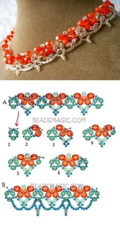 Free pattern for beaded necklace Orangina Beads Magic seed beads 110 faceted crystal beads 3 mm faceted crystal beads 4 5 mm faceted crystal beads 6 8 mm Diy Necklace Patterns, Seed Bead Patterns, Beaded Bracelet Patterns, Beading Patterns, Beaded Bracelets, Necklaces, Seed Bead Tutorials, Beading Tutorials, Seed Bead Jewelry