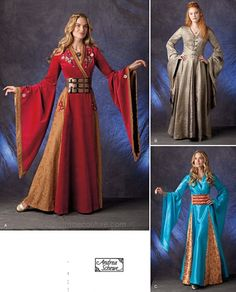 Medieval Dress Sewing Pattern - Simplicity 1009 Sewing Pattern - Misses' Costume Gown - US Sizes: 6 - 12 or 14 Medieval Dress Pattern, Gown Pattern, Sleeve Pattern, Queen Costume, Costume Dress, Gown Dress, Elf Costume, Costume Patterns, Dress Patterns