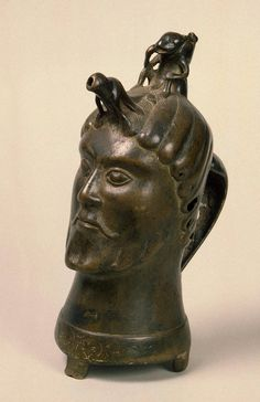 Aquamanile in the Form of a Head of Man; Hungary (?), Second half of the 14th c., Bronze