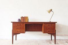 Johannes Andersen Danish Teak Executive Desk (Probably the most beautiful desk I've ever laid eyes on.)